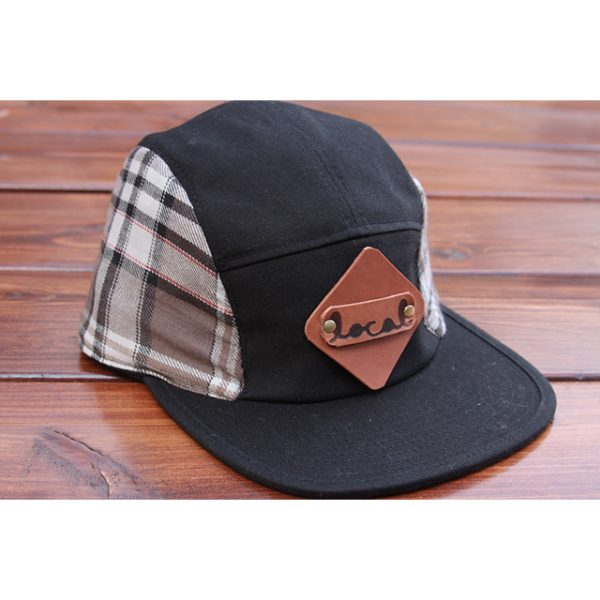 Smokey Gray Plaid Flannel 5-Panel Strapback
