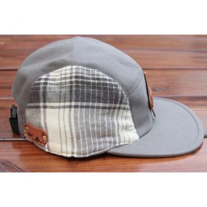 Cream & Gray Plaid Flannel 5-Panel Strapback