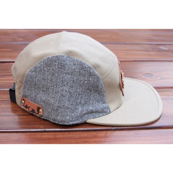 Gray Herringbone Flannel 5-Panel Strapback