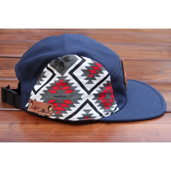 Red & Gray Native Fleece 5-Panel Strapback