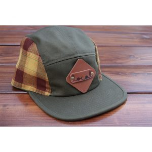 Burgundy & Gold Plaid 5-Panel Strapback