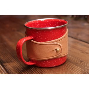 Local Knits Leather Camper Koozie Mug