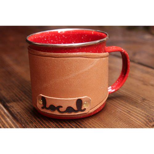 Local Knits Leather Camper Koozie Mug