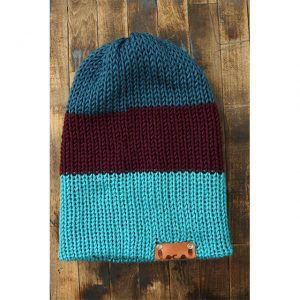 Pagoda Teal, Plum & Bright Blue Stripe Beanie