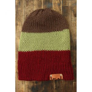 Lt Chocolate, Pistachio & Autumn Red Stripe Beanie