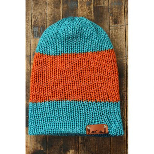 Bright Blue & Tangerine Orange Stripe Beanie