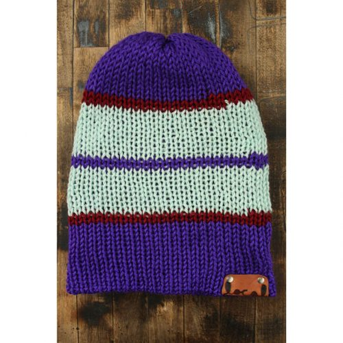 True Purple Stripe Beanie