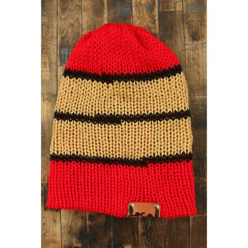 Bright Red Stripe and Tan Beanie