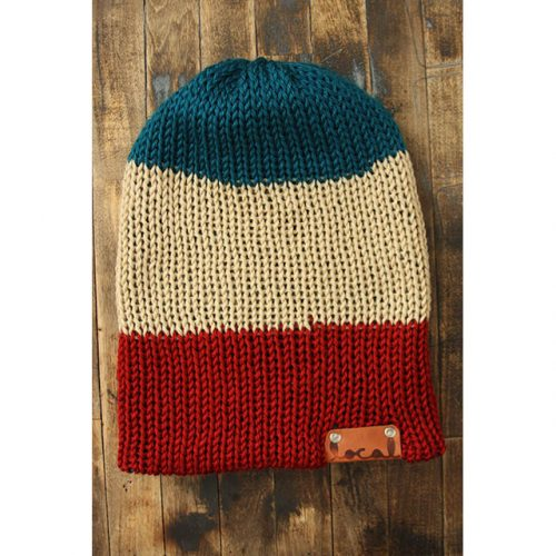 Pagoda Teal, Bone & Autumn Red Stripe Beanie