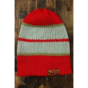 Bright Red Stripe Beanie