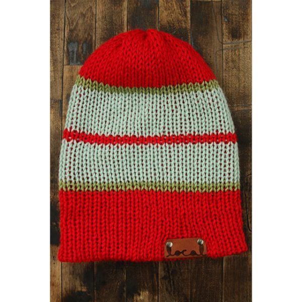 Bright Red Stripe Beanie