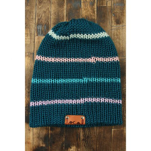 Pagoda Teal Thin Stripe Beanie
