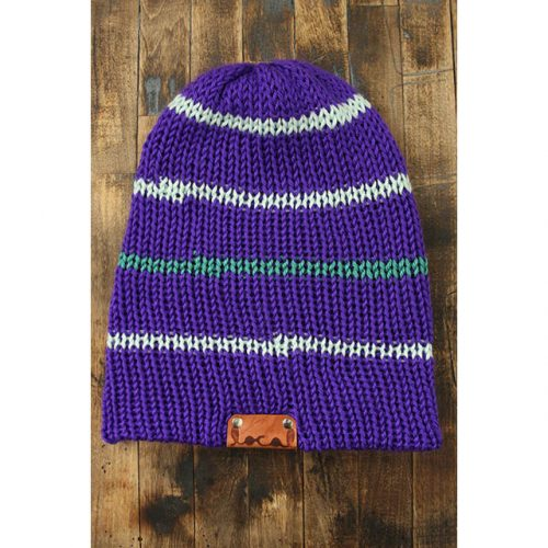 True Purple Thin Stripe Beanie