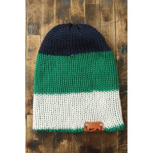 Navy, Green & White Stripe Beanie