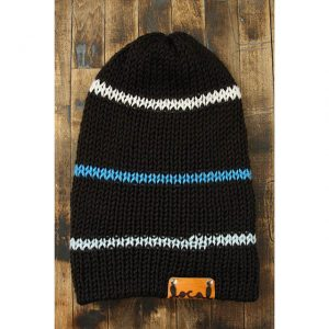 Black Thin Stripe Beanie