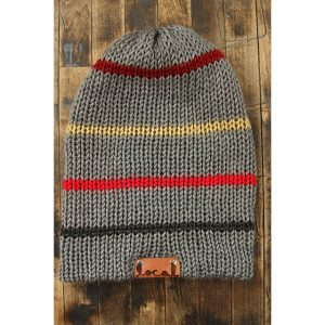 Light Gray Thin Stripe Beanie