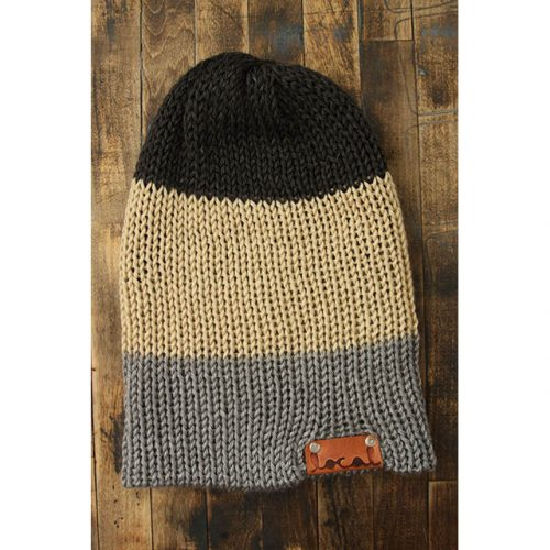 Lt Gray, Bone & Dk Heather Gray Stripe Beanie
