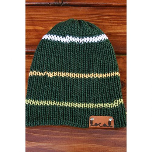 Green, Green, Yellow, and White Beanie