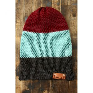 Burgundy, Mint & Dk Heather Gray Stripe Beanie