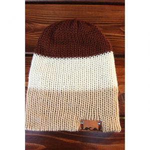 Brown Town Thick 3 Stripe Beanie