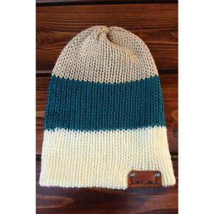 Pagoda Bone Thick 3 Stripe Beanie