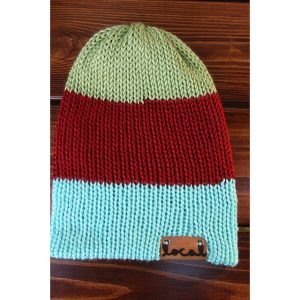 Autumn Pistachio Thick 3 Stripe Beanie