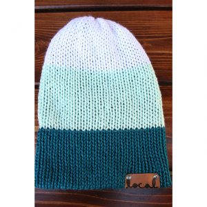 White, Mint and Pagoda (teal) 3 Stripe Beanie