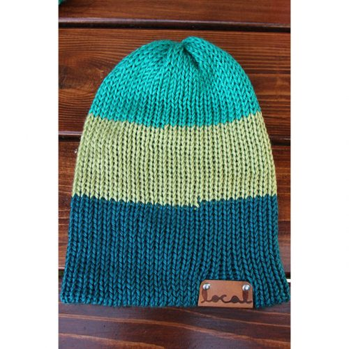 Cool Green, Pistachio, and Pagoda (teal) 3 Stripe Beanie