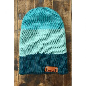 Bright Blue, Mint & Pagoda Teal Stripe Beanie