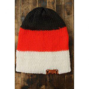 Dk Heather Gray, Bright Orange & White Stripe Beanie