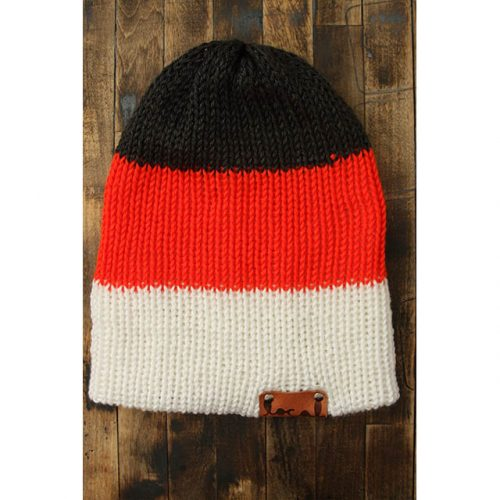Dk Heather Gray, Bright Orange & White Stripe Beanie