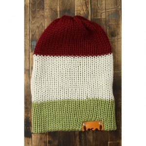 Autumn Red, Pistachio & White Stripe Beanie
