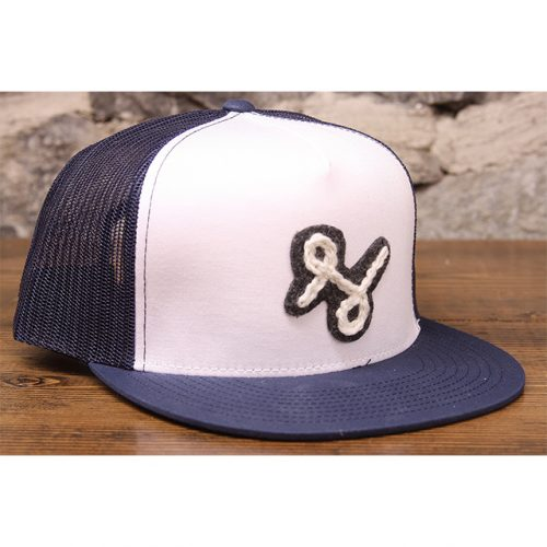 navy white letterman trucker front